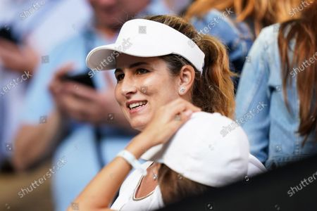 Mirka Federer, wife of Roger Federer of Switzerland, watches the quarter final match between Federer and Tennys Sandgren of the USA at the Australian Open Grand Slam tennis tournament at Rod Laver Arena in Melbourne, Australia, 28 January 2020.