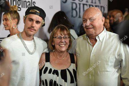 "Justin Bieber, Bruce Dale, Diane Dale. Justin Bieber, Bruce Dale and Diane Dale arrive at the Los Angeles premiere of ""Justin Bieber: Seasons"" on"