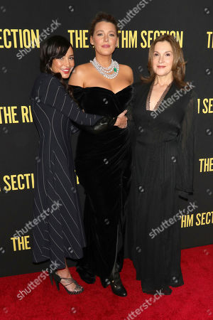 "Reed Morano, Blake Lively, Barbara Broccoli. Reed Morano, from left, Blake Lively and Barbara Broccoli attend a special screening of Paramount Pictures' ""The Rhythm Section"" at the Brooklyn Academy of Music, in New York"