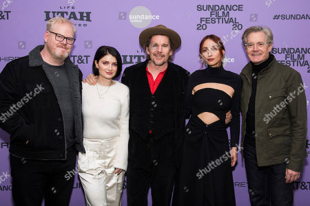 """Jim Gaffigan, Eve Hewson, Ethan Hawke, Rebecca Dayan, Kyle MacLachlan. Jim Gaffigan, left, Eve Hewson, Ethan Hawke, Rebecca Dayan and Kyle MacLachlan attend the premiere of """"Tesla,"""" at the Library Center Theatre during the 2020 Sundance Film Festival, in Park City, Utah"""
