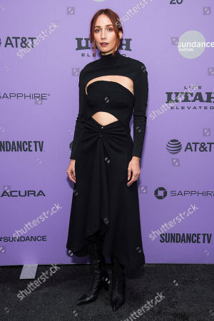 """Rebecca Dayan attends the premiere of """"Tesla,"""" at the Library Center Theatre during the 2020 Sundance Film Festival, in Park City, Utah"""