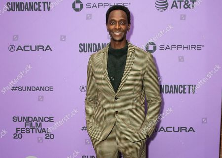 """Edi Gathegi attends the premiere of """"The Last Thing He Wanted"""" at the Eccles Theatre during the 2020 Sundance Film Festival, in Park City, Utah"""