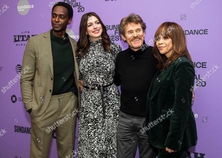 """Edi Gathegi, Anne Hathaway, Willem Dafoe, Rosie Perez. From left, actors Edi Gathegi, Anne Hathaway, Willem Dafoe and Rosie Perez attend the premiere of """"The Last Thing He Wanted"""" at the Eccles Theatre during the 2020 Sundance Film Festival, in Park City, Utah"""
