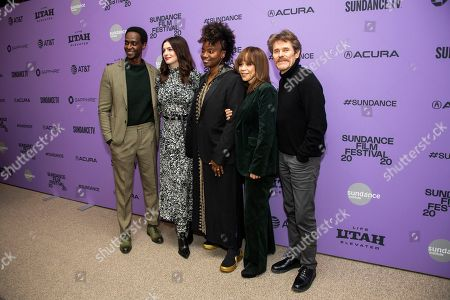 "Edi Gathegi, Anne Hathaway, Tamar-kali, Willem Dafoe, Rosie Perez. From left, actors Edi Gathegi and Anne Hathaway, composer Tamar-kali and actors Willem Dafoe and Rosie Perez attend the premiere of ""The Last Thing He Wanted"" at the Eccles Theatre during the 2020 Sundance Film Festival, in Park City, Utah"