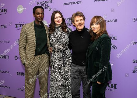"""Stock Photo of Edi Gathegi, Anne Hathaway, Willem Dafoe, Rosie Perez. From left, actors Edi Gathegi, Anne Hathaway, Willem Dafoe and Rosie Perez attend the premiere of """"The Last Thing He Wanted"""" at the Eccles Theatre during the 2020 Sundance Film Festival, in Park City, Utah"""