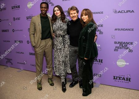 """Stock Image of Edi Gathegi, Anne Hathaway, Willem Dafoe, Rosie Perez. From left, actors Edi Gathegi, Anne Hathaway, Willem Dafoe and Rosie Perez attend the premiere of """"The Last Thing He Wanted,"""" at the Eccles Theatre during the 2020 Sundance Film Festival, in Park City, Utah"""