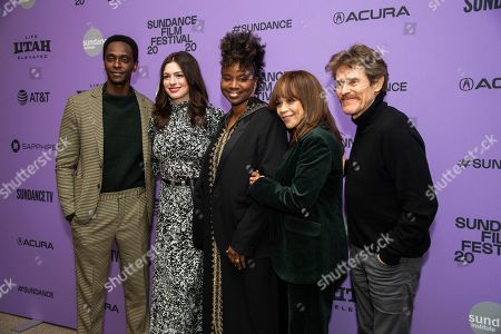 "Edi Gathegi, Anne Hathaway, Tamar-kali, Willem Dafoe, Rosie Perez. From left, actors Edi Gathegi and Anne Hathaway, composer Tamar-kali and actors Rosie Perez and Willem Dafoe attend the premiere of ""The Last Thing He Wanted,"" at the Eccles Theatre during the 2020 Sundance Film Festival, in Park City, Utah"