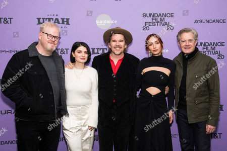 """Stock Picture of Jim Gaffigan, Eve Hewson, Ethan Hawke, Rebecca Dayan, Kyle MacLachlan. Jim Gaffigan, left, Eve Hewson, Ethan Hawke, Rebecca Dayan and Kyle MacLachlan attend the premiere of """"Tesla"""" at the Library Center Theatre during the 2020 Sundance Film Festival, in Park City, Utah"""