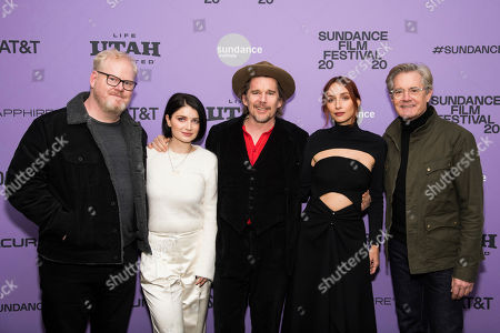 """Stock Photo of Jim Gaffigan, Eve Hewson, Ethan Hawke, Rebecca Dayan, Kyle MacLachlan. Jim Gaffigan, left, Eve Hewson, Ethan Hawke, Rebecca Dayan and Kyle MacLachlan attend the premiere of """"Tesla"""" at the Library Center Theatre during the 2020 Sundance Film Festival, in Park City, Utah"""