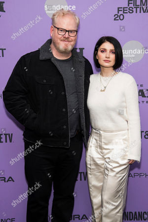 """Jim Gaffigan, Eve Hewson. Jim Gaffigan and Eve Hewson attend the premiere of """"Tesla"""" at the Library Center Theatre during the 2020 Sundance Film Festival, in Park City, Utah"""