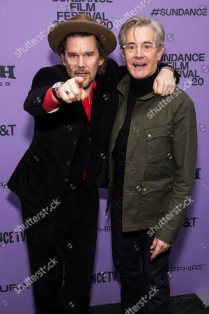 "Ethan Hawke, Kyle MacLachlan. Ethan Hawke, left, and Kyle MacLachlan attend the premiere of ""Tesla"" at the Library Center Theatre during the 2020 Sundance Film Festival, in Park City, Utah"