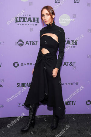 """Stock Image of Rebecca Dayan attends the premiere of """"Tesla"""" at the Library Center Theatre during the 2020 Sundance Film Festival, in Park City, Utah"""