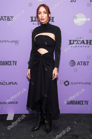 """Rebecca Dayan attends the premiere of """"Tesla"""" at the Library Center Theatre during the 2020 Sundance Film Festival, in Park City, Utah"""