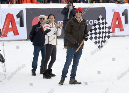 Bernie Ecclestone, Birgit Lauda and Sebastian Vettel, 80th Hahnenkamm race, Streif, downhill