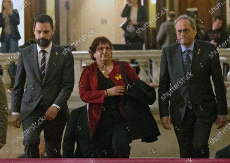 Dolors Bassa (C), imprisoned former Catalan regional minister, is welcomed by Catalan regional President, Quim Torra (R), and Catalan Parliament's Speaker, Roger Torrent (L), upon her arrival to the regional Chamber to appear before the inquiry commission on the implementation of Spanish Constitution's article 155 in Barcelona, Spain, 28 January 2020. The implementation of the article by the central government led to the dismissals of former Catalan ministers for their involvement in the pro-independence process in 2017. Imprisoned former Catalan Deputy President Oriol Junqueras and former regional ministers Jordi Turull, Josep Rull, Raul Romeva, Dolors Bassa and Joaquim Form left the jail to attend the inquiry.