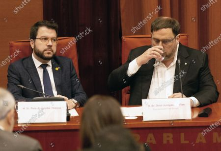 Oriol Junqueras (R), imprisoned former Catalan regional Deputy President; Catalan regional Deputy President, Pere Aragones (L), attend the inquiry commission on the implementation of Spanish Constitution's article 155 at regional Parliament in Barcelona, Spain, 28 January 2020. The implementation of the article by the central government led to the dismissals of former Catalan ministers for their involvement in the pro-independence process in 2017. Imprisoned former Catalan Deputy President Oriol Junqueras and former regional ministers Jordi Turull, Josep Rull, Raul Romeva, Dolors Bassa and Joaquim Form left the jail to attend the inquiry.