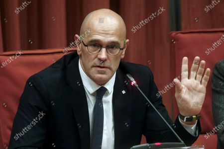 Raul Romeva, imprisoned former Catalan regional minister, delivers a speech during the inquiry commission on the implementation of Spanish Constitution's article 155 at regional Parliament in Barcelona, Spain, 28 January 2020. The implementation of the article by the central government led to the dismissals of former Catalan ministers for their involvement in the pro-independence process in 2017. Imprisoned former Catalan Deputy President Oriol Junqueras and former regional ministers Jordi Turull, Josep Rull, Raul Romeva, Dolors Bassa and Joaquim Form left the jail to attend the inquiry.