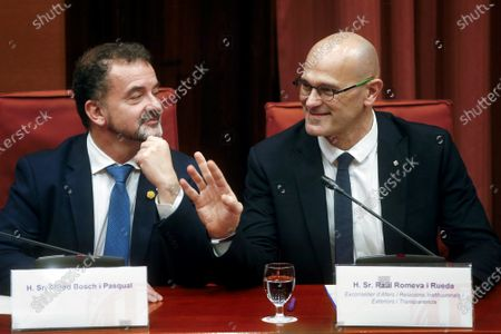 Raul Romeva (R), imprisoned former Catalan regional minister, delivers a speech next to Catalan regional Foreign Minister, Alfred Bosch, during the inquiry commission on the implementation of Spanish Constitution's article 155 at regional Parliament in Barcelona, Spain, 28 January 2020. The implementation of the article by the central government led to the dismissals of former Catalan ministers for their involvement in the pro-independence process in 2017. Imprisoned former Catalan Deputy President Oriol Junqueras and former regional ministers Jordi Turull, Josep Rull, Raul Romeva, Dolors Bassa and Joaquim Form left the jail to attend the inquiry.