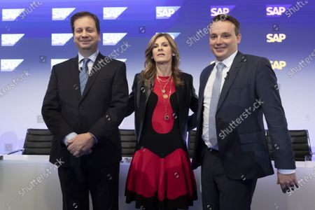 (L-R) SAP Chief Financial Officer (CFO) Luka Mucic ,Co-Chief Executive Officers (CEO) Jennifer Morgan and Christian Klein pose for a photo prior a press conference in Walldorf, Germany, 28 January 2020. Software producer SAP SE released their preliminary business figures for the fourth quarter Q4 and the full year 2019.