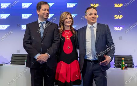 (L-R) SAP Chief Financial Officer (CFO) Luka Mucic, Co-Chief Executive Officers (CEO) Jennifer Morgan and Christian Klein pose for a photo prior a press conference in Walldorf, Germany, 28 January 2020. Software producer SAP SE released their preliminary business figures for the fourth quarter Q4 and the full year 2019.