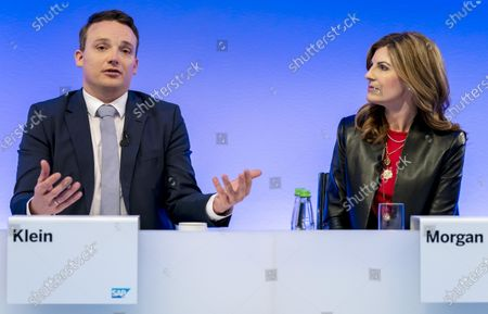 Co-Chief Executive Officers (CEO) of SAP SE, Christian Klein (R) and Jennifer Morgan  attend a press conference in Walldorf, Germany, 28 January 2020. Software producer SAP SE released their preliminary business figures for the fourth quarter Q4 and the full year 2019.