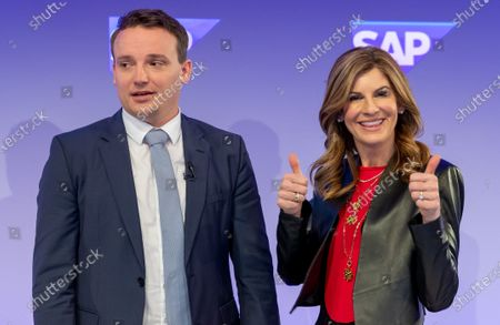 Co-Chief Executive Officers (CEO) of SAP SE, Jennifer Morgan (R) and Christian Klein pose for a photo prior a press conference in Walldorf, Germany, 28 January 2020. Software producer SAP SE released their preliminary business figures for the fourth quarter Q4 and the full year 2019.