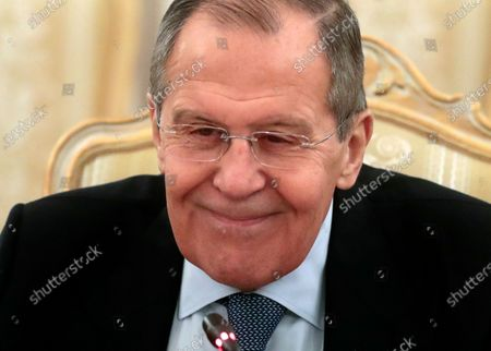Russian Foreign Minister Sergei Lavrov smiles as he talks with Foreign Minister of South Sudan Awut Deng Acuil at the Russian Foreign Ministry guest house in Moscow, Russia, 28 January 2020.