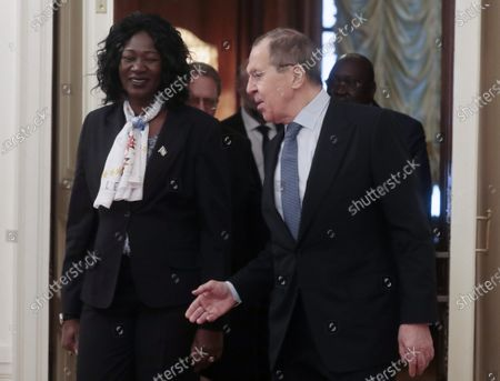 Russian Foreign Minister Sergei Lavrov (R) and Foreign Minister of South Sudan Awut Deng Acuil (L) arrive for talks in the Russian Foreign Ministry guest house in Moscow, Russia, 28 January 2020.