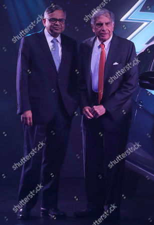 Stock Picture of Natarajan Chandrasekaran, Ratan Tata. Tata Motors chairman Natarajan Chandrasekaran, left, and Tata group's former chairman Ratan Tata pose during the launch of electric SUV Nexon EV in Mumbai, India