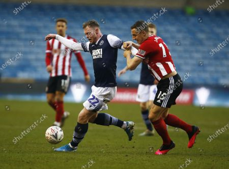 L-R Aiden O'Brien of Millwall and Phil Jagielka of Sheffield United.during The Emirates FA Cup Fourth Round between Millwall and Sheffield United at The Den , London, England on 25 20. (Photo by AFS/Espa-Images)