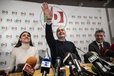 Anna Ascani, Secretary of Democratic party Nicola Zingaretti, Andrea Orlando in press conference about the results of the regional elections