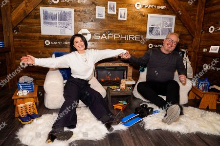 Eve Hewson, Jim Gaffigan. Eve Hewson and Jim Gaffigan pose for a photo at the Los Angeles Times Studio at Sundance Film Festival presented by Chase Sapphire, in Park City, Utah
