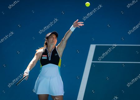 Latisha Chan of Chinese Taipeh playing doubles at the 2020 Australian Open Grand Slam tennis tournament