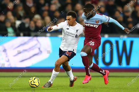 Stock Picture of Trent Alex-Arnold of Liverpool battles with  Arthur Masuaku of West Ham United
