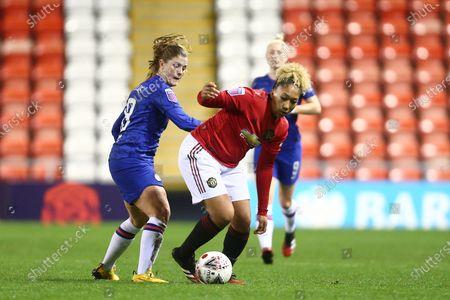 Lauren James of Manchester United and Maren Mjelde of Chelsea