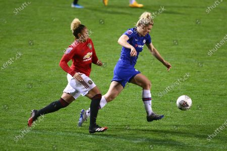Lauren James of Manchester United and Millie Bright of Chelsea