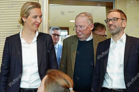 Secretary General of the right-wing Austrian Freedom Party (FPOe) Herbert Kickl (R), Alternative for Germany (AfD) right-wing populist party faction co-chairwoman in the German parliament Bundestag Alice Weidel (L) and AfD faction co-chairman Alexander Gauland (C) attend a joint press conference in Berlin, Germany, 28 January 2020.
