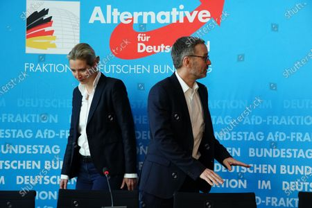 Secretary General of the right-wing Austrian Freedom Party (FPOe) Herbert Kickl (R), Alternative for Germany (AfD) right-wing populist party faction co-chairwoman in the German parliament Bundestag Alice Weidel (L) and AfD faction co-chairman Alexander Gauland (not pictured) attend a joint press conference in Berlin, Germany, 28 January 2020.