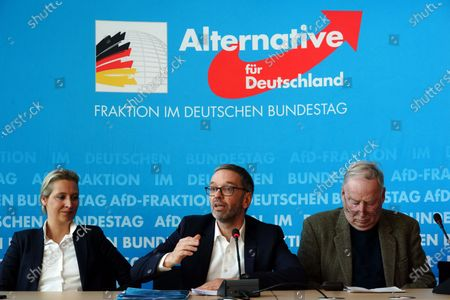 Secretary General of the right-wing Austrian Freedom Party (FPOe) Herbert Kickl (C), Alternative for Germany (AfD) right-wing populist party faction co-chairwoman in the German parliament Bundestag Alice Weidel (L) and AfD faction co-chairman Alexander Gauland (R) attend a joint press conference in Berlin, Germany, 28 January 2020.