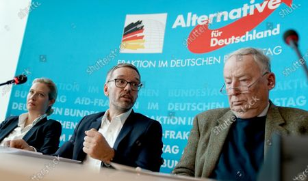 Stock Photo of Secretary General of the right-wing Austrian Freedom Party (FPOe) Herbert Kickl (C), Alternative for Germany (AfD) right-wing populist party faction co-chairwoman in the German parliament Bundestag Alice Weidel (L) and AfD faction co-chairman Alexander Gauland (R) attend a joint press conference in Berlin, Germany, 28 January 2020.  EPA-