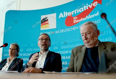 Secretary General of the right-wing Austrian Freedom Party (FPOe) Herbert Kickl (C), Alternative for Germany (AfD) right-wing populist party faction co-chairwoman in the German parliament Bundestag Alice Weidel (L) and AfD faction co-chairman Alexander Gauland (R) attend a joint press conference in Berlin, Germany, 28 January 2020.  EPA-