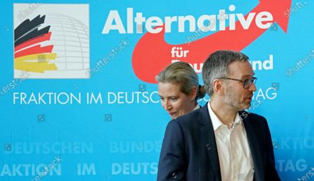 Stock Picture of Secretary General of the right-wing Austrian Freedom Party (FPOe) Herbert Kickl (R), Alternative for Germany (AfD) right-wing populist party faction co-chairwoman in the German parliament Bundestag Alice Weidel (L) and AfD faction co-chairman Alexander Gauland (not pictured) attend a joint press conference in Berlin, Germany, 28 January 2020.