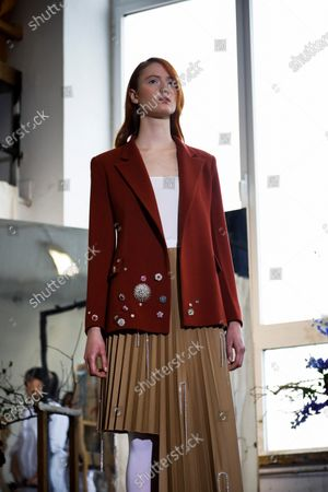 A model presents a creation by Spanish designer Moises Nieto during his fashion show within the Mercedes-Benz Fashion Week Madrid at the University of Fine Arts in Madrid, Spain, 28 January 2020. The Mercedes-Benz Fashion Week Madrid runs from 28 January to 02 February 2020.