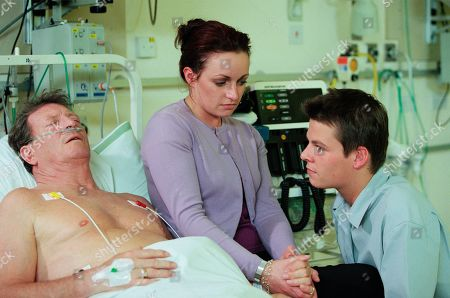 Ep 4850 Monday 3rd July 2000 Linda blames Mark for causing Mike's heart attack by leaving in the way he did. She insists she was going to tell Mike all about them and accuses him of running out on her. Pleased Mark has visited him in hospital, Mike demands to know why he left, who says he just got itchy feet. Mike is told to diet and not to work too hard as Linda vows to make sure he doesn't die. With Linda Sykes, as played by Jacqueline Pirie ; Mike Baldwin, as played by Johnny Briggs ; Mark Redman, as played by Paul Fox.