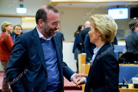 Ursula von der Leyen and Manfred Weber at the meeting of the European Parliament Conference of Presidents with Ursula von der Leyen, President of the European Commission on the Commission work programme