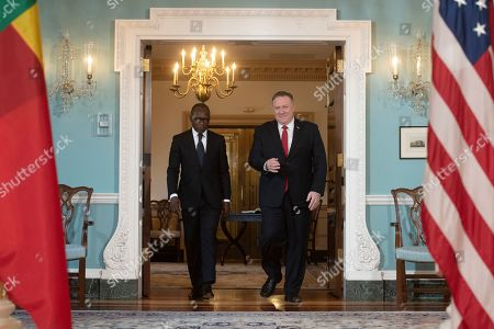 Patrice Talon, Mike Pompeo. Secretary of State Mike Pompeo, right, arrives with Benin President Patrice Talon for a media opportunity at the State Department in Washington