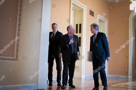 Lamar Alexander, John Thune, Roy Blunt. Sen. Lamar Alexander, R-Tenn., center, is flanked by Sen. John Thune, R-S.D., left, and Sen. Roy Blunt, R-Mo., arrive as defense arguments by the Republicans resume in the impeachment trial of President Donald Trump on charges of abuse of power and obstruction of Congress, at the Capitol in Washington
