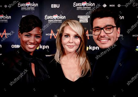 Dutch singer Edsilia Rombley, Dutch actress and television presenter Chantal Janzen, and Dutch singer Jan Smit attend the Host City Insignia Exchange and the official Allocation Draw for the semi-finals of the 65th annual Eurovision Song Contest (ESC) at the city hall in Rotterdam, The Netherlands, 28 January 2020. The event announced in which of the two semifinals the participating countries will be classified. The ESC 2020 will take place at the Rotterdam Ahoy and consist of two semi-finals, to be held on 12 and 14 May 2020, and a grand final on 16 May 2020. Musicians representing 41 countries will participate in the contest.