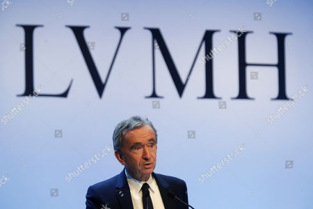 CEO of LVMH Bernard Arnault presents the group's 2019 results during a press conference, in Paris