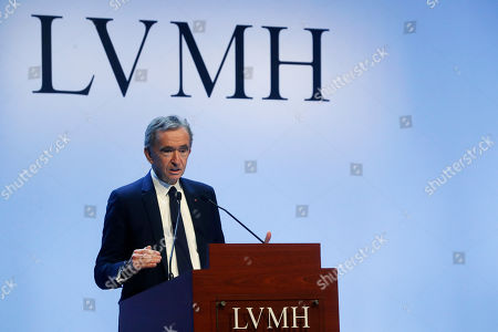 Stock Photo of CEO of LVMH Bernard Arnault presents the group's 2019 results during a press conference, in Paris